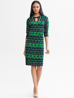 Mad Men? Collection Peggy Knit Shift Dress - Blue combo